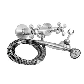 1108-20	brass faucet double handles hot/cold water wall-mounted shower mixer with handshower and hose